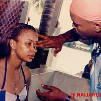 Ibinabo Fiberesima being made up for her scene in Camouflag.