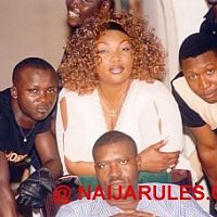 From left, camera man John Osemeka, Eucharia Anunobi, director Tchidi Chikere and sitting, Kanayo Kanayo on the set of After The Fight