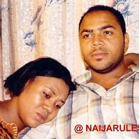 Stella as Sola and Nouah as Taiye.