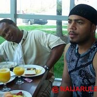 Nouah and Obazele getting breakfast at the Sheraton