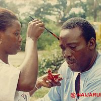 Olu Jacobs being made up for a scene.