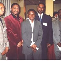 actor taiwo obude, leonard Ajayi, and footballer Ikedia, and Others during the presentation.