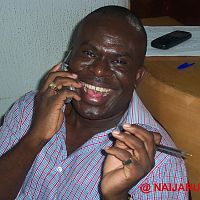 Movie maker Tade Ogidan in his Surulere Lagos office (2003).