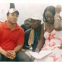 director fred mayford (mr. magic) rehearsing with actor bobby ogoloma and actress efe mayford-orhorha (younger sister of the director), on the set of lonely pain, shot in brass, bayelsa state.