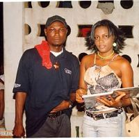 director fred mayford (mr. magic) with queen nwokoye, on the set of the last supper, shot in asaba, delta state.