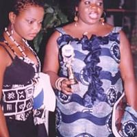 Kabirat and Aishat Khafidipe receiving award for Winner of Best Nigerian Film Festival (IWALEWA)