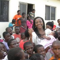 with kids at an orphanage