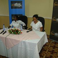 addressing a pres conference in Malawi with Multichoice Malawi marketing manager Titania Kaunda
