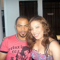 The many faces of Monalisa Chinda. On set with dreamboat, Ramsey Nouah